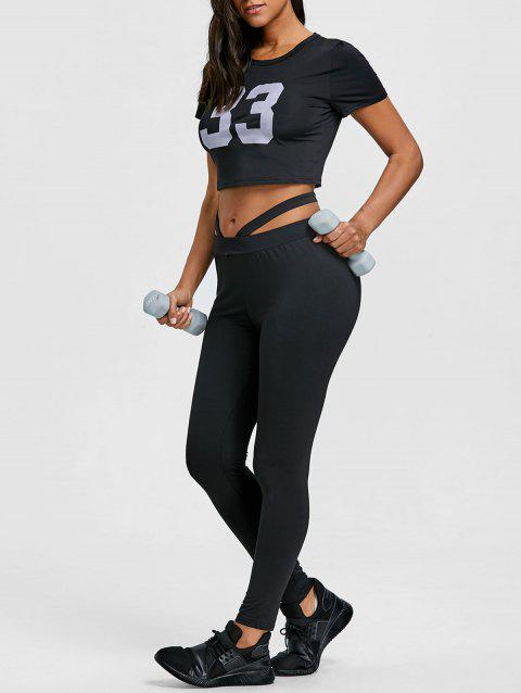 Cropped Letter Print Top and Gym Leggings Set - BLACK XL