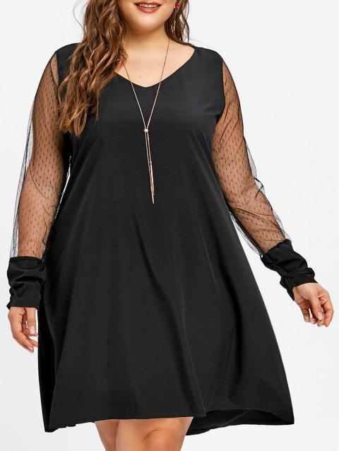 Limited Offer 2019 Plus Size Lace Panel V Neck Tunic Dress In Black