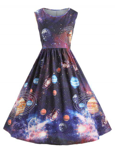 Vintage Space Planet Cosmos Dress - COLORMIX M