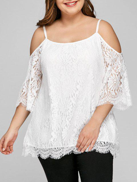 Plus Size Cutout Bell Sleeve Lace Blouse - WHITE 3XL