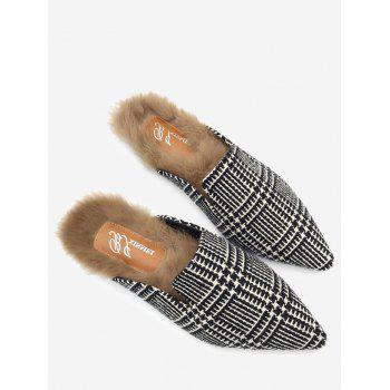 Houndstooth Plaid Faux Fur Pointed Toe Flats