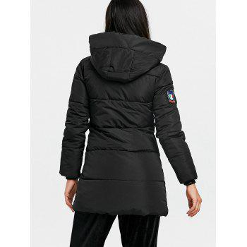 Hooded Single Breasted Puffer Jacket - BLACK XL