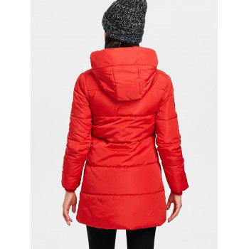 Hooded Single Breasted Puffer Jacket - RED 2XL