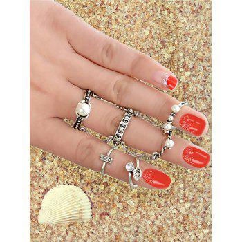 Metal Leaf Faux Pearl Rings Set - SILVER ONE-SIZE