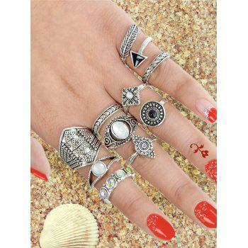 Retro Metal Faux Gem Band Cuff Rings Set - SILVER ONE-SIZE