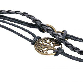 Faux Leather Tree of Life Infinite Bracelet -  BLACK