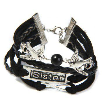 Swallow Infinite Layered Friendship Bracelet -  BLACK