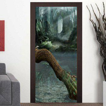 Ruined Walls and Dead Tree Patterned Door Art Stickers - COLORMIX COLORMIX