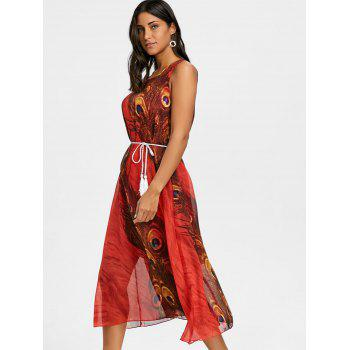 Peacock Feather Print Chiffon Tassel Belted Dress - RED S