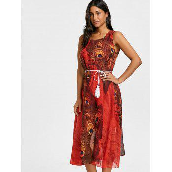 Peacock Feather Print Chiffon Tassel Belted Dress - RED M