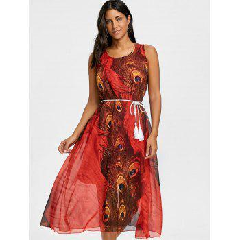 Peacock Feather Print Chiffon Tassel Belted Dress - RED L