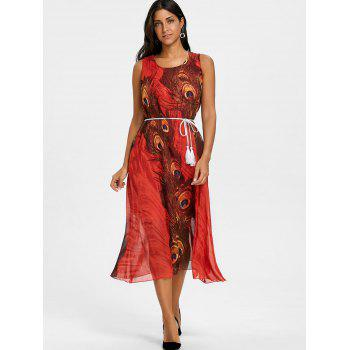 Peacock Feather Print Chiffon Tassel Belted Dress - RED XL