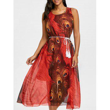 Peacock Feather Print Chiffon Tassel Belted Dress - RED RED