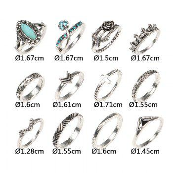 Flower Rhinestone Series Rings Set - COLORMIX ONE-SIZE