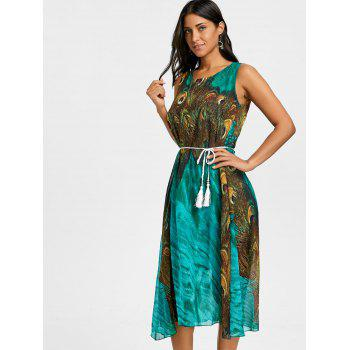 Peacock Feather Print Chiffon Tassel Belted Dress - GREEN M