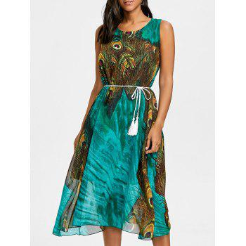 Peacock Feather Print Chiffon Tassel Belted Dress - GREEN GREEN