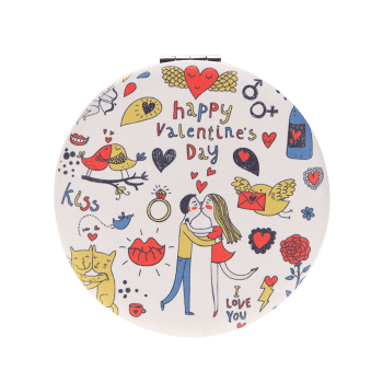 Two-sided Valentine's Day Lovers Kissing Cosmetic Mirror - COLORMIX