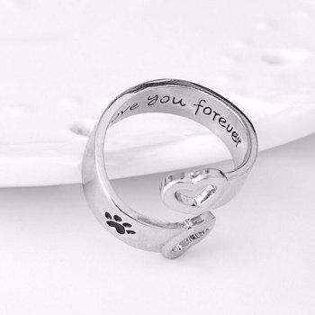 Valentine's Day Love Heart Footprint Cuff Ring - SILVER SILVER