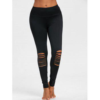 Skinny High Waist Knee Ripped Leggings - BLACK BLACK