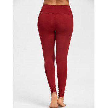 Skinny High Waist Knee Ripped Leggings - WINE RED L