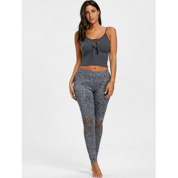 Skinny High Waist Knee Ripped Leggings - GRAY GRAY