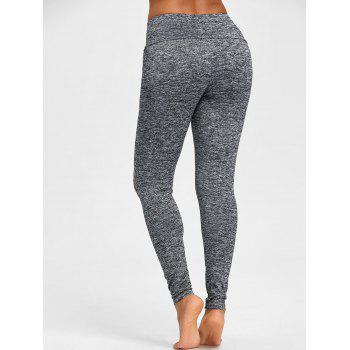 Skinny High Waist Knee Ripped Leggings - GRAY M