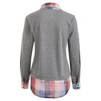 Faux Two Piece Plaid Patchwork Sweatshirt - GRAY S