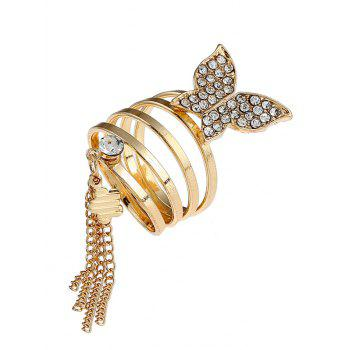 Rhinestone Butterfly Floral Fringed Charm Ring - GOLDEN GOLDEN