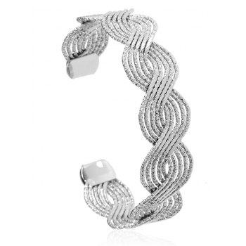 Twist Hollow Out Design Cuff Bracelet - SILVER SILVER