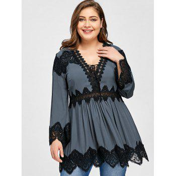 2018 Plus Size Lace Panel Long Sleeve Peplum Blouse GRAY XL In ...