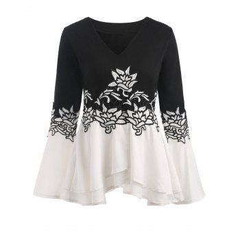 Bell Sleeve Embroidered Peplum T-shirt - WHITE AND BLACK WHITE/BLACK