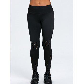 Wide Waistband Ripped Training Leggings - BLACK M