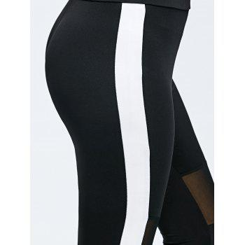 Mesh Trim Two Tone Sports Leggings - BLACK BLACK