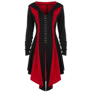 Plus Size Hooded Lace Up Coat - BLACK/RED XL