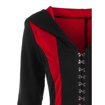 Plus Size Hooded Lace Up Coat - BLACK/RED 2XL