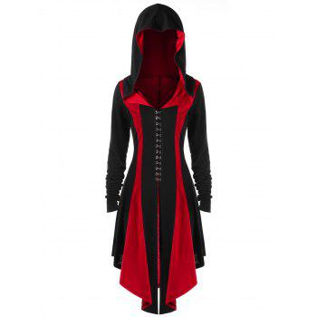 Plus Size Hooded Lace Up Coat - BLACK&RED BLACK/RED