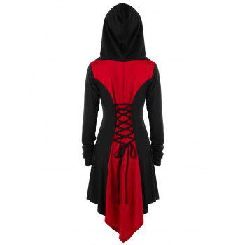 Plus Size Hooded Lace Up Coat - BLACK/RED 3XL