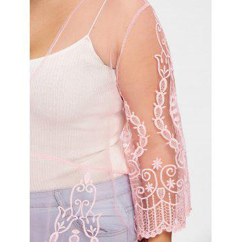 Plus Size See Thru Lace Cover Up Cardigan - PINK XL