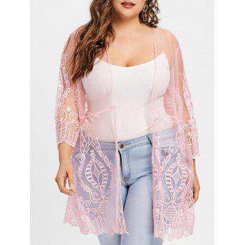Plus Size See Thru Lace Cover Up Cardigan - PINK PINK