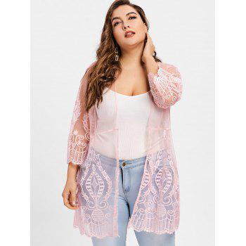 Taille Plus See Thru Lace Cover Up Cardigan - ROSE PÂLE 3XL