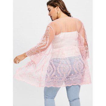Plus Size See Thru Lace Cover Up Cardigan - PINK 5XL