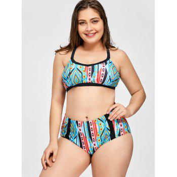 Plus Size High Waist Bikini Set - COLORMIX 2XL