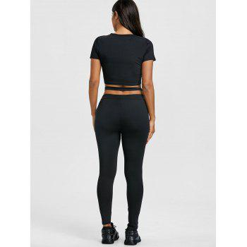 Cropped Letter Print Top and Gym Leggings Set - BLACK S