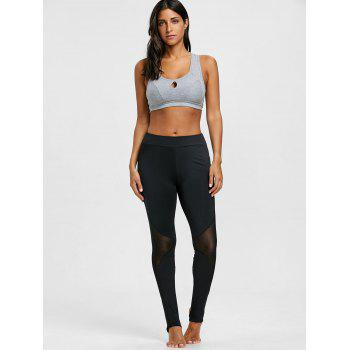 Sheer Mesh Panel Gym Stirrup Leggings - BLACK L