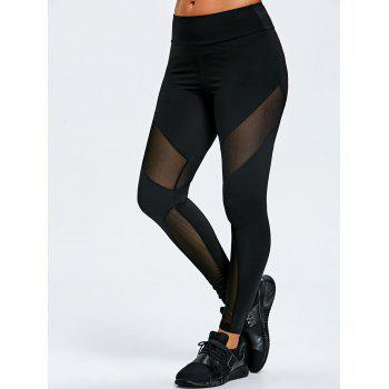Marled Mesh Insert Sports Leggings - BLACK BLACK