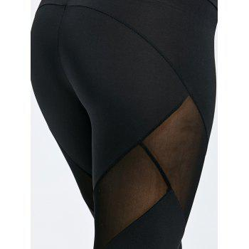 Marled Mesh Insert Sports Leggings - BLACK XL