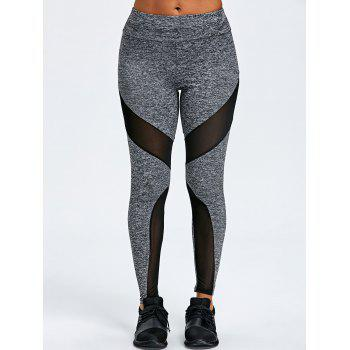 Marled Mesh Insert Sports Leggings - GRAY L