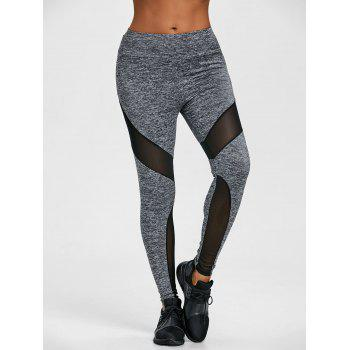 Sheer Mesh Insert High Waist Workout Leggings - GRAY M