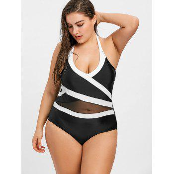 Plus Size Two Tone Swimsuit - BLACK 3XL