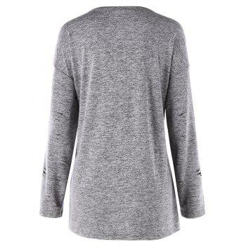 Plus Size Long Sleeve Ripped Tee - GRAY GRAY